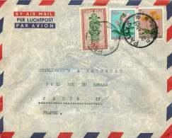 1957 Lettre  Avion De Paulis   Pour La France  Masques 2,50F, Fleurs 0,5F, 7F - 1947-60: Covers