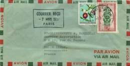 1957 Lettre  Avion  Pour La France  Masques 2,50F, Fleurs 5F - 1947-60: Covers