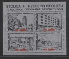 POLAND SOLIDARITY POCZTA SOLIDARNOSC 1988 WARSAW CAPITAL 2ND REPUBLIC 70TH ANNIV INDEPENDENCE 2 MS ARCHITECTURE BUILDING - Cinderellas