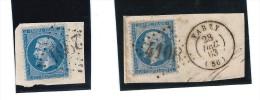 Lot 2 Timbres Napoléon III 20c Bleu, Avec Beaux Cachets à Date + Losange Gros Chiffres - Marcophilie (Timbres Détachés)