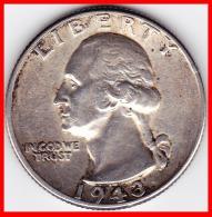 United States Etats Unis Quarter Dollar 1943 Washington Silver Argent 900 °/°° 6,25g  TTB No Mint Mark - Émissions Fédérales