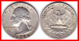 Quarter Dollar 1945 Washington Silver Argent 900 °/°° 6,25 G No Mint Mark TTB - Federal Issues