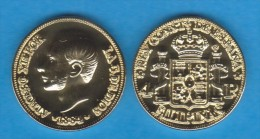 FILIPINAS  (Colonia Española-Rey Alfonso XII) 4 PESOS  1.884  ORO/GOLD  KM#151  SC/UNC  T-DL-10.936 REPLICA  Espa. - Filipinas