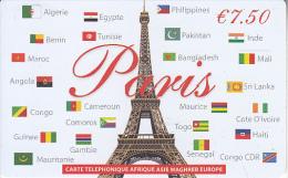 FRANCE - The Eiffel Tower, Paris  Prepaid Card 7.50 Euro, Exp.date 31/12/15, Used - France