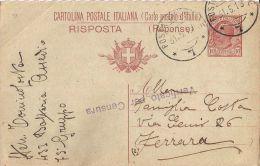 INTERO REGNO LEONI 10+10 C RISPOSTA 1918 POSTA MILITARE 7 X FERRARA - 1900-44 Victor Emmanuel III.