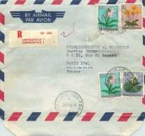 1955  Lettre Avion Recommandée Pour La France  Fleurs 0,50F X2, 4F, 7F - Belgian Congo