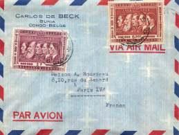 1958 Lettre Avion De Bunia  Pour La France  Cinquantenaire Du Congo 1f (coin Manquant), 6,50 - 1947-60: Covers