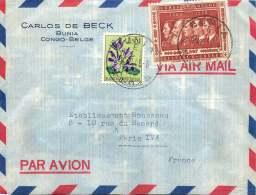 1958 Lettre Avion De Bunia  Pour La France  Cinquantenaire Du Congo  6,50f, Fleurs 1,50f - 1947-60: Covers