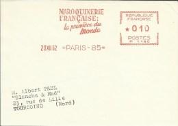 Lettre Flamme EMA 1962  Maroquinerie Francaise La Premiere Du Monde  Metiers Cuir    Theme Paris A 33/05 - Non Classificati