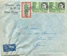 1956   Lettre Avion De Goma   Pour La France   Baudouin 3f X2, Masques 2,50f - 1947-60: Covers