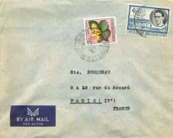 1956   Lettre Avion D'Elisabethville    Pour La France   Baudouin 4,50f, Fleurs 3f - 1947-60: Covers