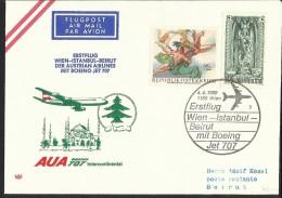 """Österreich  Sonderstempel   """"Erstflug Wien - Istanbul - Beirut 1969 M. Boeing Jet 707""""   ANK Nr. 1318 - 1945-.... 2nd Republic"""