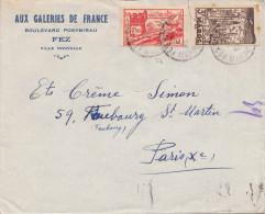 MAROC - 1,5F + 3F Auf Geschäftsbrief Aux Galeries De France > Paris - Marokko (1956-...)