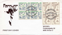 NORWEGEN Tórshavn Färöer 1975 - 2 Vierer Block Frankierung (4x5 + 4x10) Auf FDC Brief - Briefe U. Dokumente