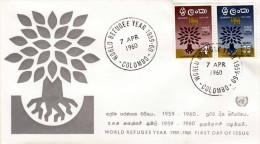 CEYLON COLOMBO 1960 - 2 Fach Frankierung Auf Brief (Animèe Mondiale Du Refugie) - Sri Lanka (Ceylon) (1948-...)