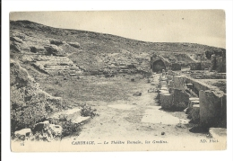 Cp, Tunisie, Carthage, Le Théatre Romain, Les Gradins, Voyagée 1933 - Tunesië