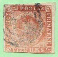 DEN SC #2b  1851 Royal Emblems  W/fading, CV $55.00 - 1851-63 (Frederik VII)