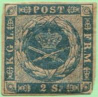 DEN SC #3 MH  1855 Royal Emblems  W/in At LR CNR + HR From Old-style Hinge (shown), CV $75.00 (H) - 1851-63 (Frederik VII)