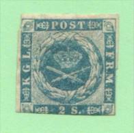 DEN SC #3 MH  1855 Royal Emblems  W/flts, Incl. Tear @ UL, TL + CNR CRS @ LR, CV $75.00 - 1851-63 (Frederik VII)