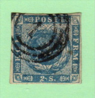 """DEN SC #3  1855 Royal Emblems  4 Margins  """"1"""" (Kjobenhaven) In Concentric Circles, CV $60.00 - 1851-63 (Frederik VII)"""