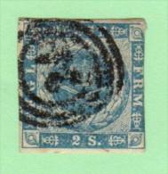 "DEN SC #3  1855 Royal Emblems  3 Margins  ""21""?  (Friedrichstad) In Concentric Circles, CV $60.00 - 1851-63 (Frederik VII)"