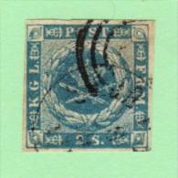 DEN SC #3  1855 Royal Emblems 4 Margins  W/lt. Staining, F&B, CV $60.00 - 1851-63 (Frederik VII)