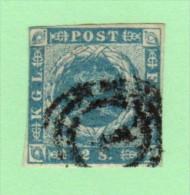 DEN SC #3  1855 Royal Emblems 3+ Margins (close @ TL), CV $60.00 - 1851-63 (Frederik VII)