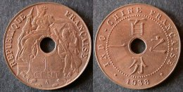 INDOCHINE  1 Cent 1938 SUP  Brillant D'origine  INDOCHINA    PORT OFFERT - Laos