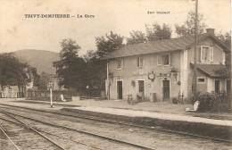 Belle Cpa De Trivy-Dompierre (71), La Gare, Truchot, Vue Des Quais, Tampons Ambulant Moulins à Mâcon, 1912 - France