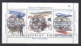 Sweden Mi Bl 12 Aviation History , Aeroplanes Thulin , Flugan , SAAB With Cancells Of First Day Issue - Trasporti