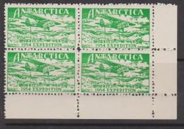 Australian Antarctic Territory 1954 Expedition Label Green Plane Over Camp Block Of 4 MNH - Australian Antarctic Territory (AAT)