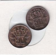 2 X 50 CENTIMES Bronze 1976 FR Et 1976 FL   Qualité++++++++++++++++++ + - 1951-1993: Boudewijn I