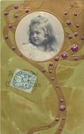 Themes Div - Ref H 546 - Enfants - Illustrateur- Portrait Fillette En Medaillon - Dorures - Carte Gaufree - - Portraits
