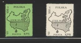 POLAND SOLIDARITY SOLIDARNOSC KPN 1989 50TH ANNIV WW2 SOVIET INVASION WORLD WAR 2 MAP PRE-WAR POLAND MAPS MILITARIA - Cinderellas