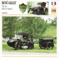 Fiche Technique Moto (Side-car/Attelée)  -  René Gillet 750cc Et Remorque  -  Side-car Vannod  1938 - Autres