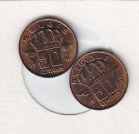 2 X 50 CENTIMES Bronze 1988 FR Et 1988 FL   Qualité++++++++++++++++++ + - 1951-1993: Baudouin I