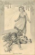 Themes Div - Ref H 492 - Enfants -  Illustrateur - La Luge Renversee - Luge - Luges - Joyeux Noel - Carte Bon Etat - - Taferelen En Landschappen