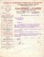 BELGIQUE - BRUXELLES - ATELIERS DE CONSTRUCTION D´APPAREILS DE BRASSERIES - USB - PIERRET & STAPPER - LETTRE - 1930 - 1900 – 1949