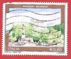 ITALIA REPUBBLICA USATO - 2007 - Turismo - 34ª Emissione - Brunico -  € 0,60 - S. 2961 - 6. 1946-.. República