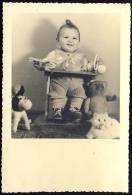 BABY  KITTLE GIRL  WITH   TEDDY BEAR     & TOYS - Photographs