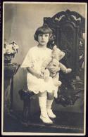 BABY  KITTLE GIRL  WITH   TEDDY BEAR - Photographs