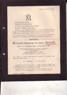 LIEGE FOURON-SAINT-Pierre Mathieu MAGIS époux TRASENSTER  Ancien échevin Député 1840-1921 Faire-part Mortuaire - Décès