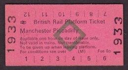 BR Railway Edmondson Platform Ticket Manchester Piccadilly - Railway