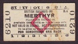 Railway Platform Ticket Merthyr BR(W) Red Diamond Edmondson - Railway