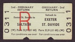 BR Railway Edmondson Ticket Saltash - Exeter St Davids 2nd Class Ordinary Return - Railway
