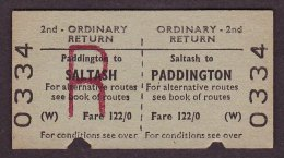 BR Railway Edmondson Ticket Saltash - Paddington 2nd Class Ordinary Return - Railway