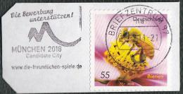 Allemagne  2010 - Timbre Sur Fragment (  Flamme Munich 2018 ), 55 C. Abeille Butinant - Honeybees