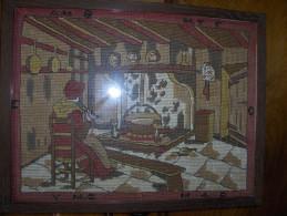 Canevas Abecedaire ??? Ancien 35x26  Signature A.M 8  M.T F  EC Y M.C  MAD -decor Feu De Cheminee Personnage Etc... - Photos