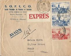 Lettre EXPRES Par Avion De CASABLANCA Pour La France 1950 - Maroc (1891-1956)