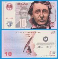 MUJAND REPUBLIC  10  ZILCHY  2.013    SC/UNC/PLANCHA    T-DL-10.945 - Fictifs & Spécimens